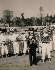 Gen. Choi Hong-Hi leads the historic first ever Taekwon-Do team abroad (March 1959).